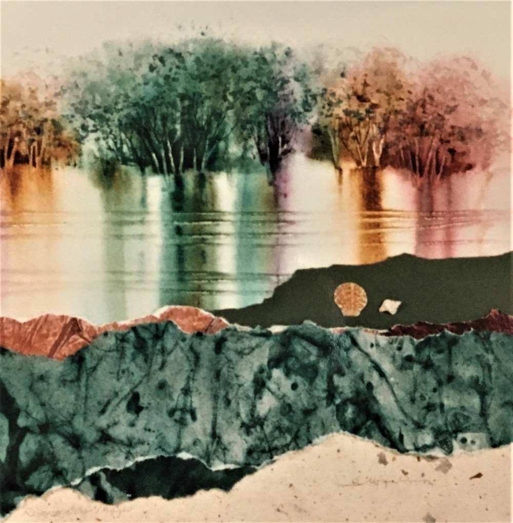 Birch watercolor paper collage landscape with seashells by Kate Moynihan artist