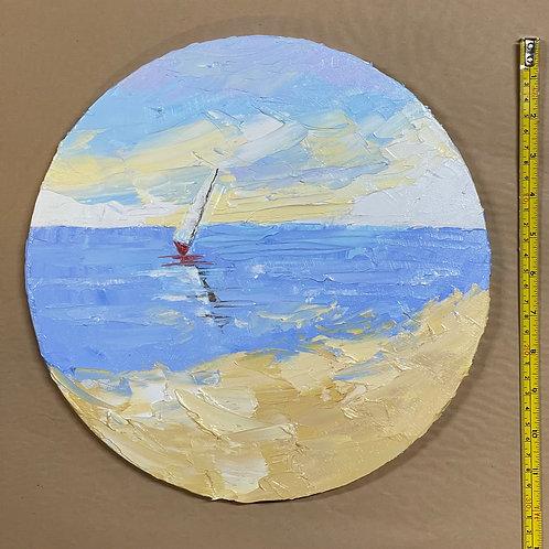 """'Drift Away'  12 x 12""""-  round canvas"""
