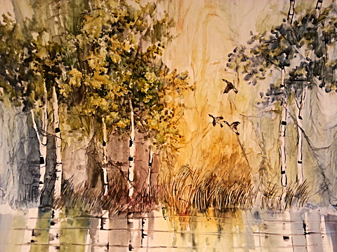Three geese flying between the birch trees and marsh. Original watercolor by Kate Moynihan