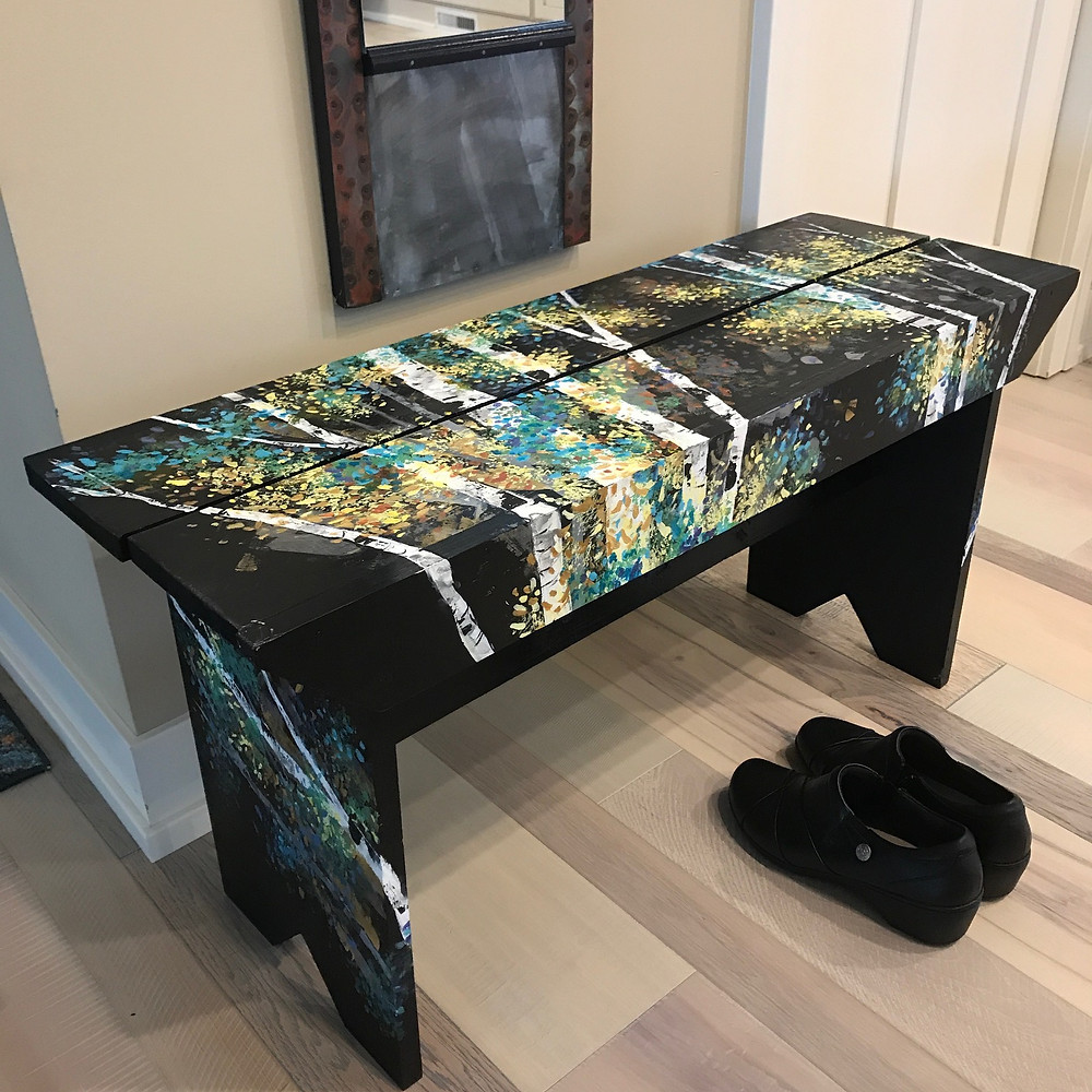 Handpainted black bench with colorful birch landscape by Kate Moynihan artist