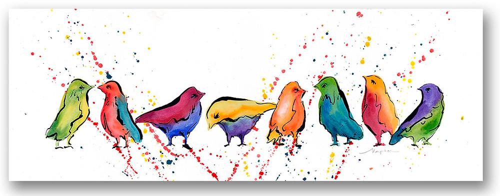 "'Row of Birds' Giclee print, by Kate Moynihan artist 23.75"" x 12""  $75"