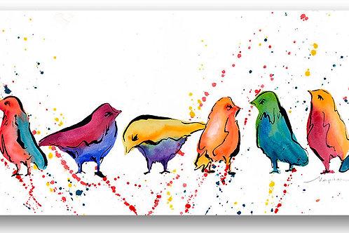 Long narrow horizontal contemporary colorful birds Giclee print by Kate Moynihan