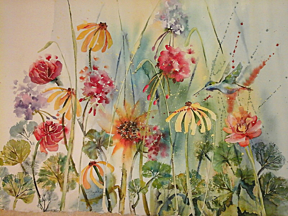 Original watercolor by Kate Moynihan. A hummingbird takes flight in a field of summer flowers: yellow black-eyed Susan, red geraniums, blue hydrangeas, and daisies.