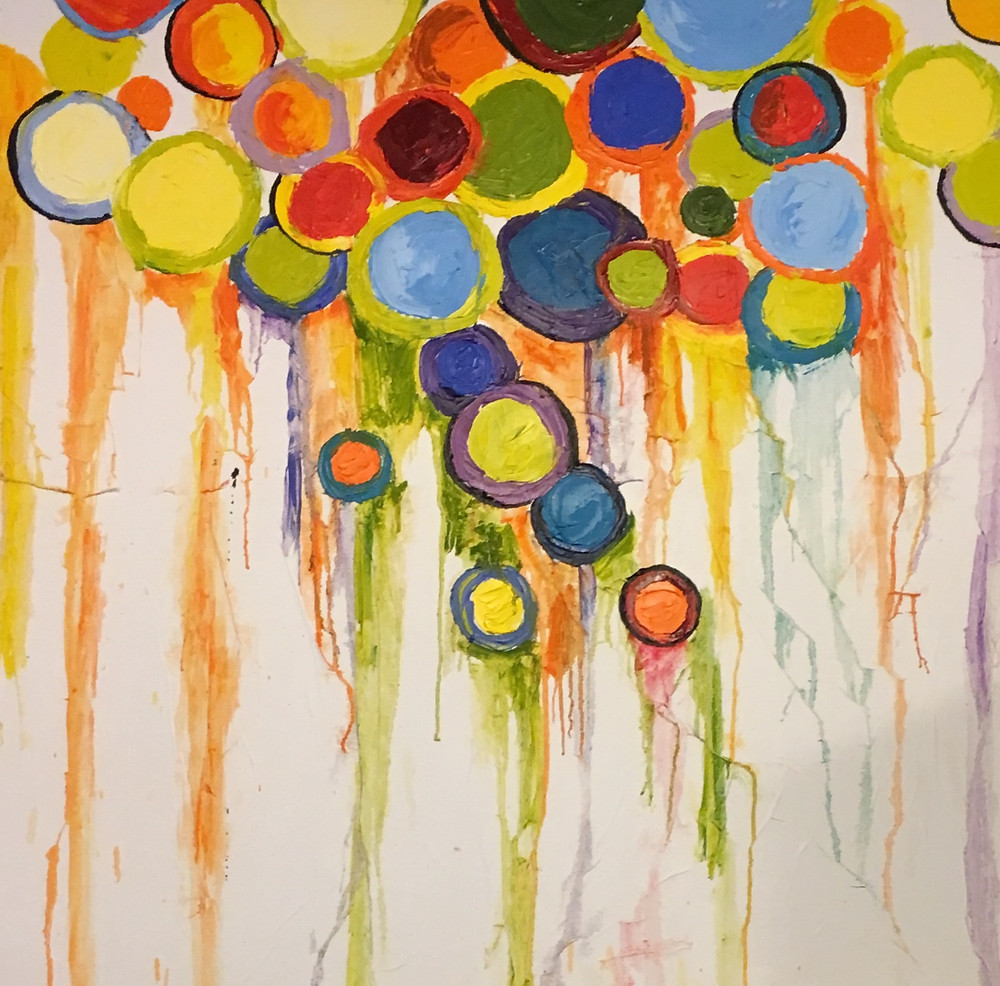 """Achieve cozy and comfortable home decor by using circles in your  home and art. """"Cheerful Circles,"""" Original painting by Kate Moynihan artist."""