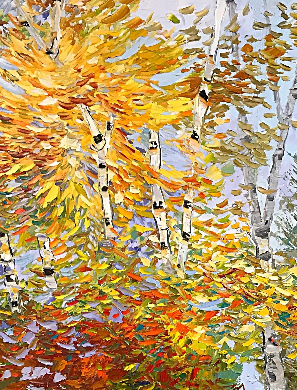"""Burst of Yellow"" Birch landscape original oil by Kate Moynihan"