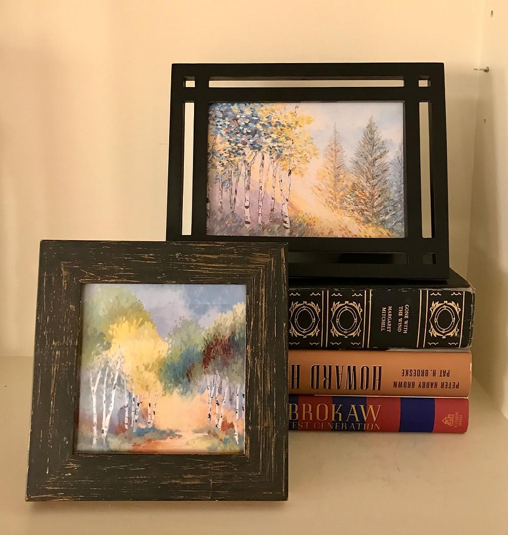 Framed birch tree note cards by artist Kate Moynihan
