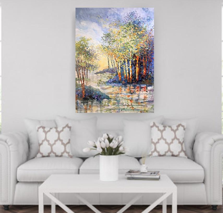 Birch landscape water original oil by Kate Moynihan artist