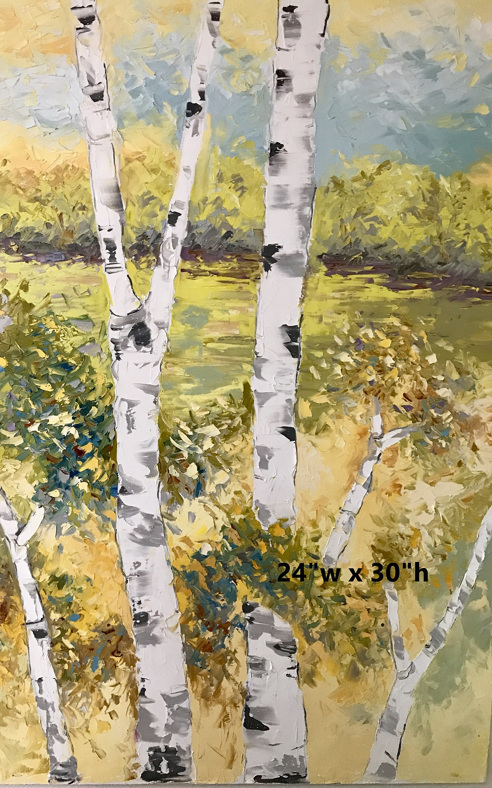 Original oil yellows and neutral birch tree landscape by artist Kate Moynihan