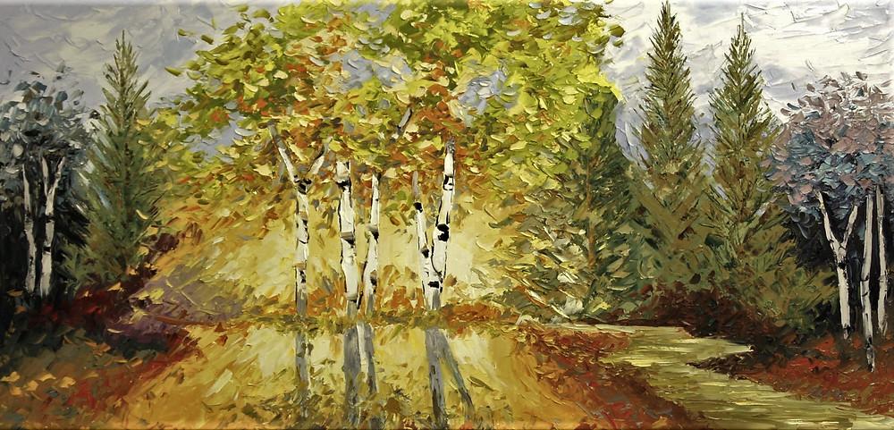Original oil birch tree landscape with sun rays through center by Kate Moynihan artist