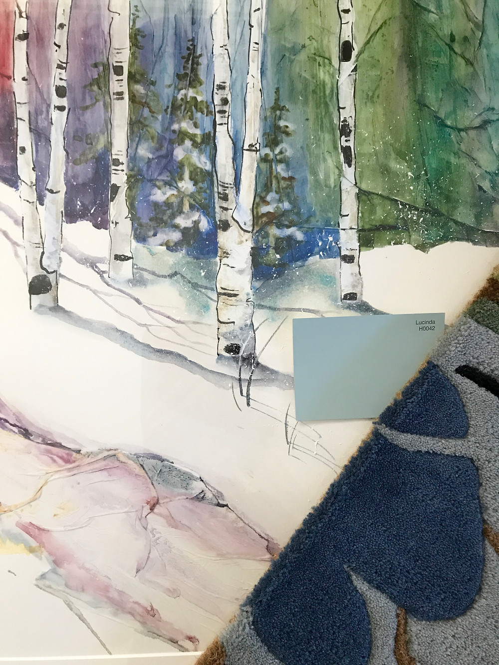 """""""Winter"""" Birch Landscape Giclee by artist Kate Moynihan who also creates custom paintings to match your home decor"""