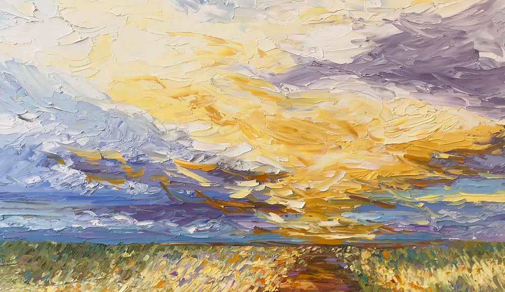Original oil landscape of prairie by artist Kate Moynihan