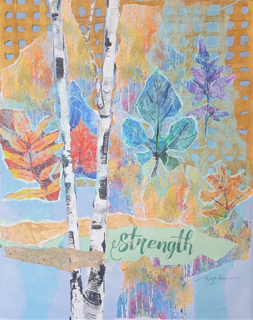 Wise words original mixed media custom collage paintings by Kate Moynihan