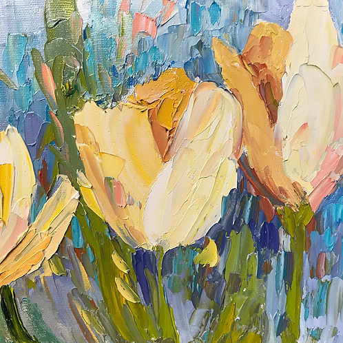 """'Nature's Bouquet of Yellow Tulip' - 8 x 8"""""""