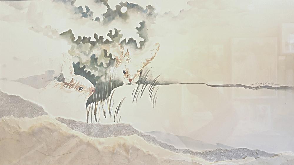 """Bunnies Beneath the Snow"" Original winter watercolor by Kate Moynihan"