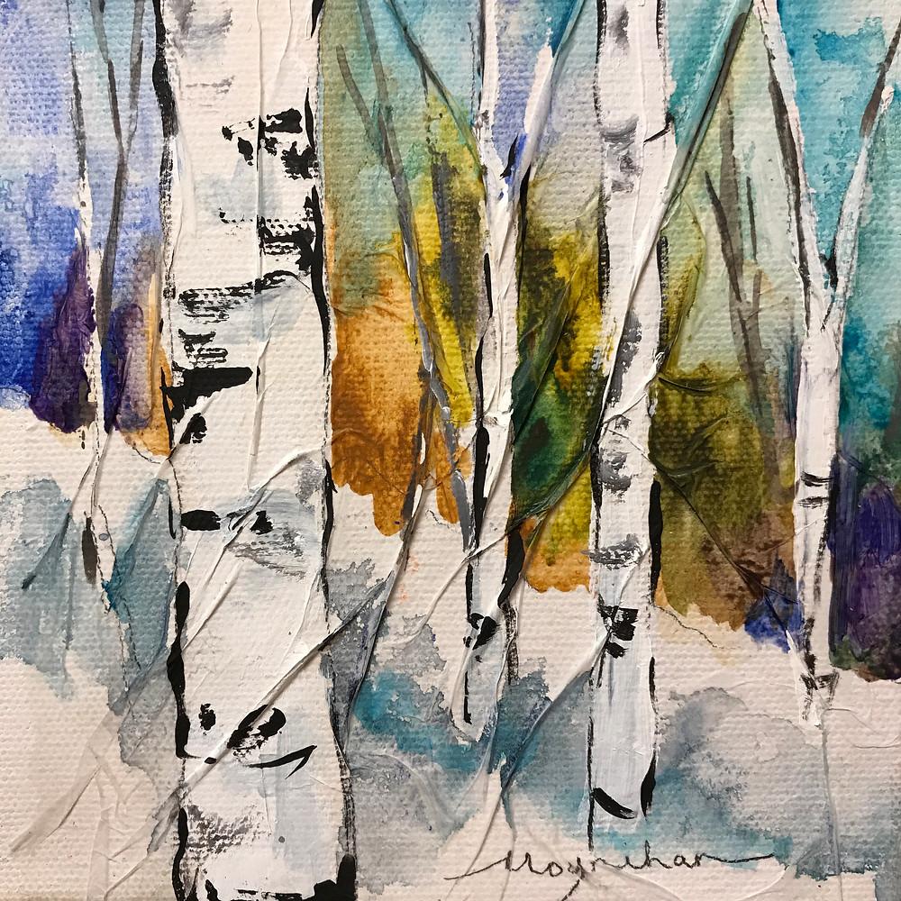 Small original winter birch tree landscape in oil by Kate Moynihan artist