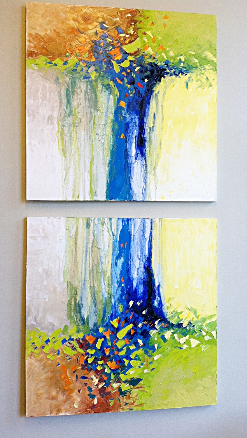 Original oil blue abstract pair of oils by artist Kate Moynihan