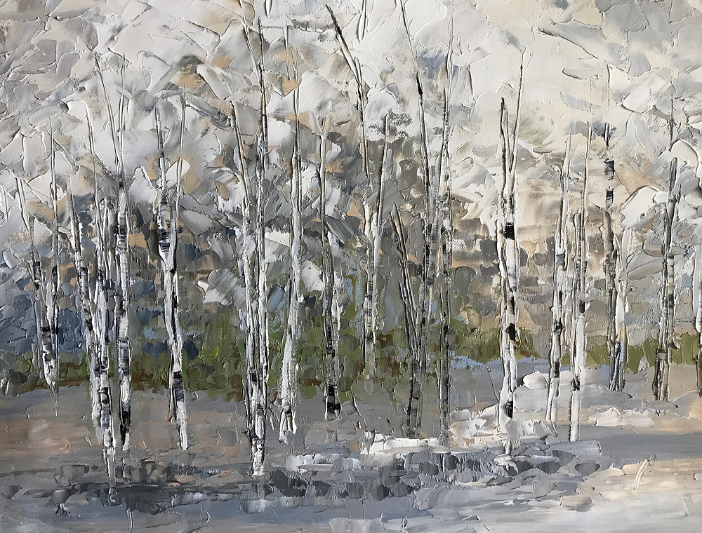 Neutral colors in original oil palette knife painting becomes a restful birch and forest scene