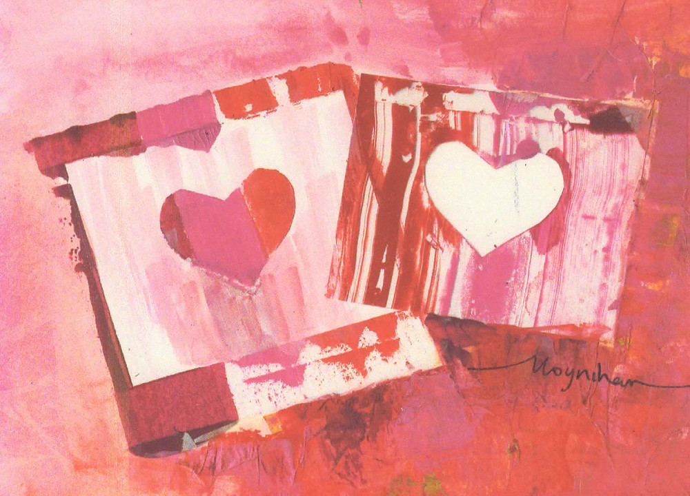 """""""Together"""" Pair of red and pink hearts collage mixed media by Kate Moynihan artist"""