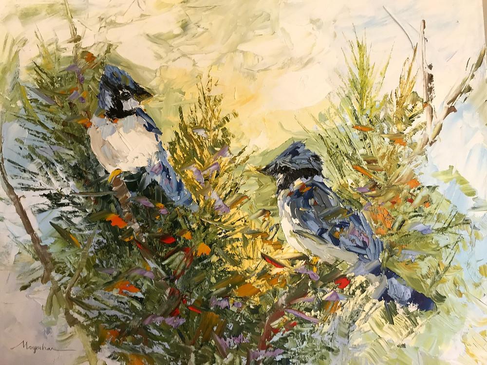Bluejays in pines oil painting original by Kate Moynihan