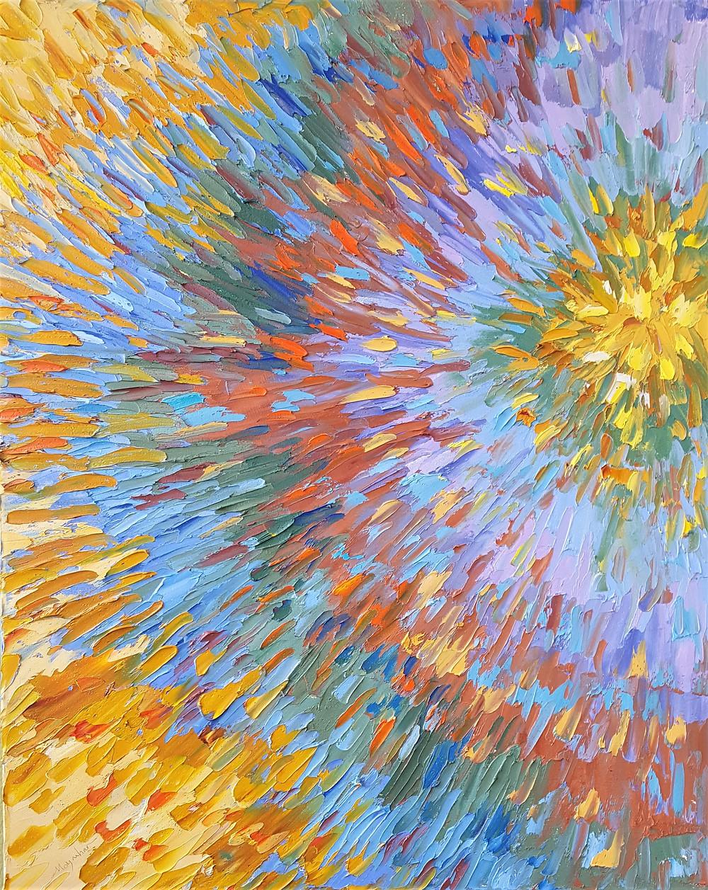 Original oil by Kate Moynihan, contemporary circular movement abstract, Starburst