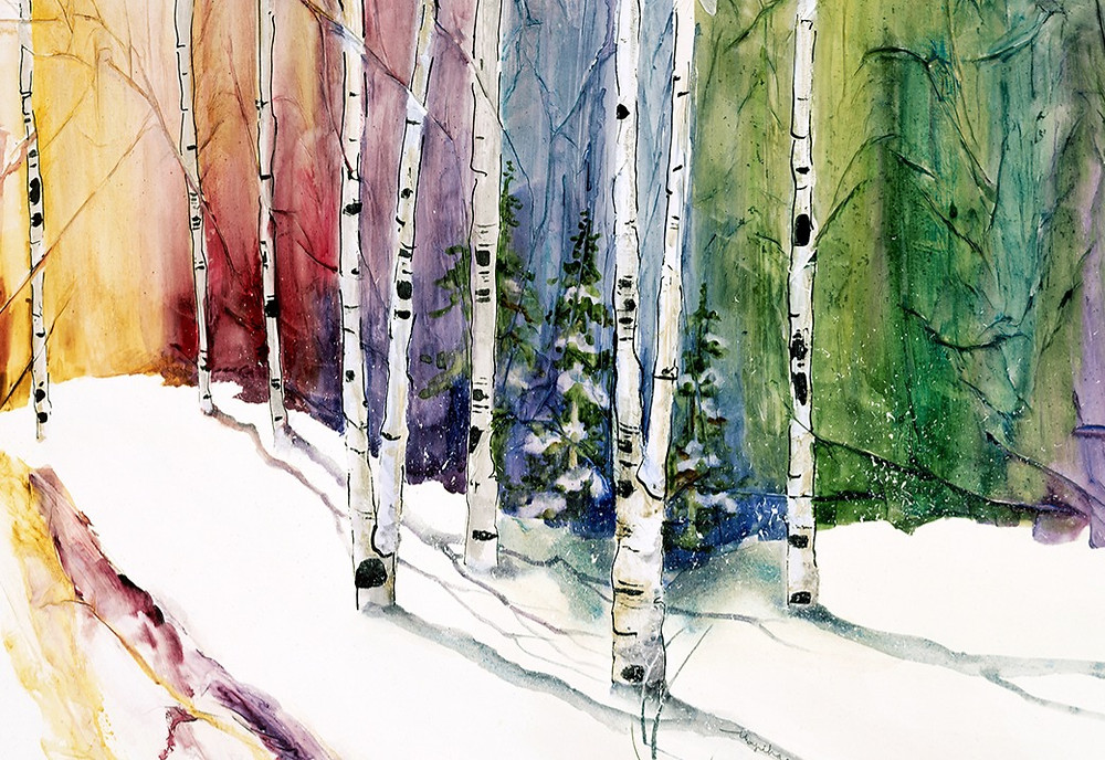 watercolor giclee print of winter landscape, part of 4-season series collection by artist Kate Moynihan