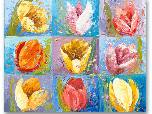 Nine contemporary tulips in a square Giclee print of pastel blues, lavender, pinks and golds by Kate Moynihan artist