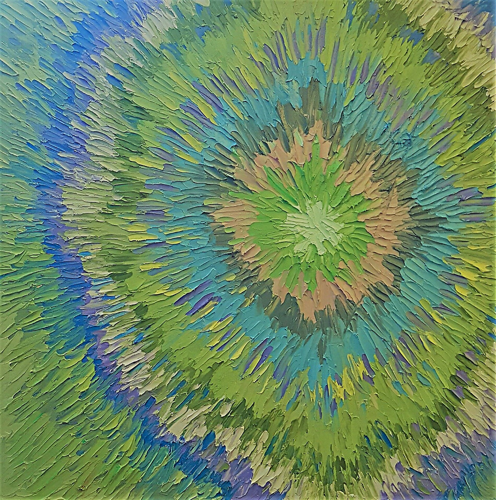 Abstract contemporary original ail in green and blue analogous colors in a restful circle pattern by Kate Moynihan artist.