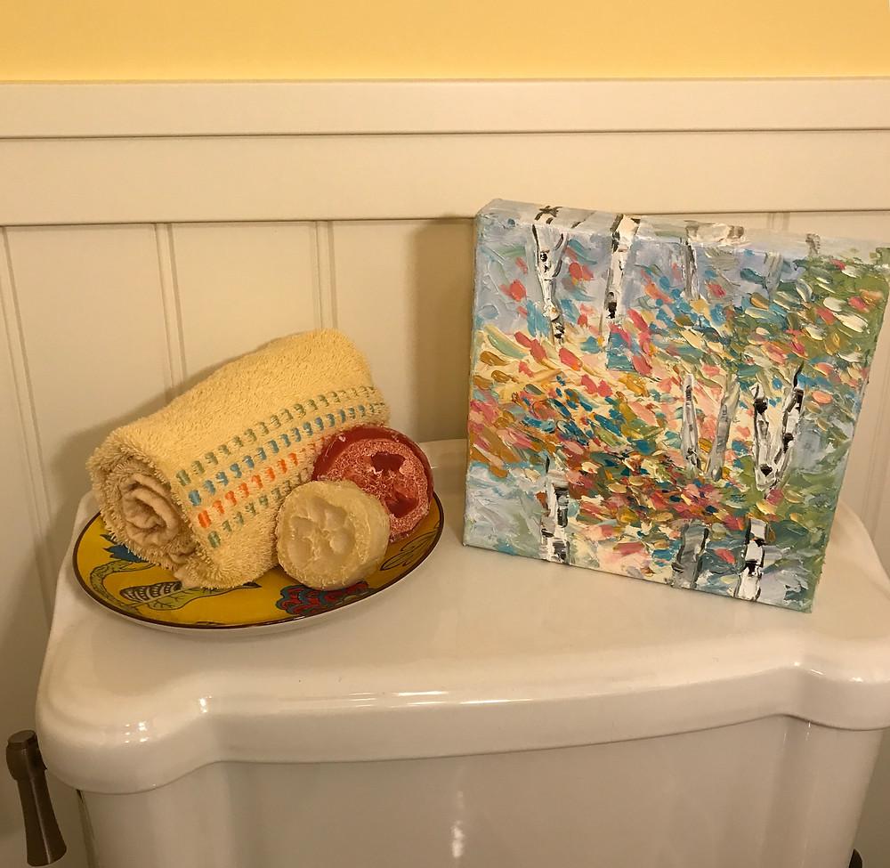 "Original birch oil canvas 8 x 8"" by Kate Moynihan"