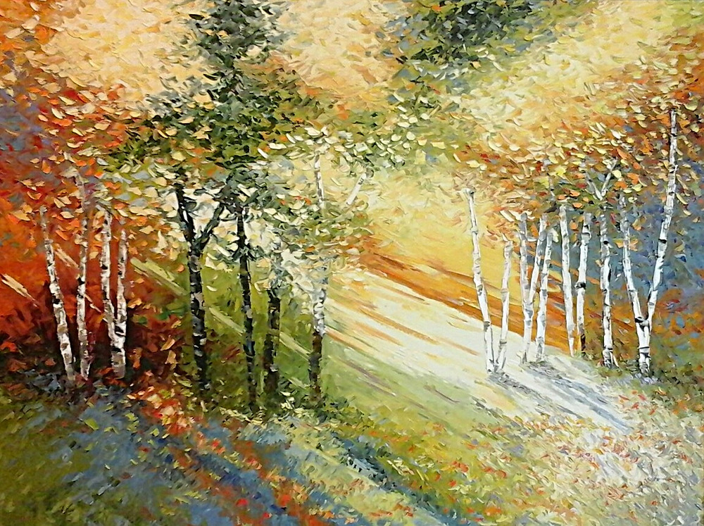 Birch landscape with sun light through trees in forest, original oil in warm colors by Kate Moynihan artist