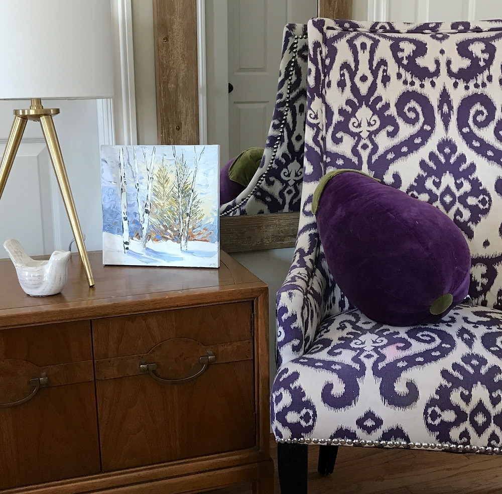 Home of Brian and Lindsay Moynihan decor mixing traditional pattern with modern furniture