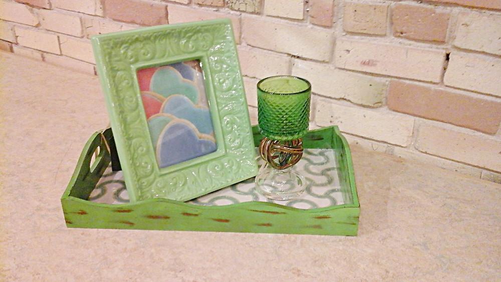 Kate Moynihan home decor green tray and frame