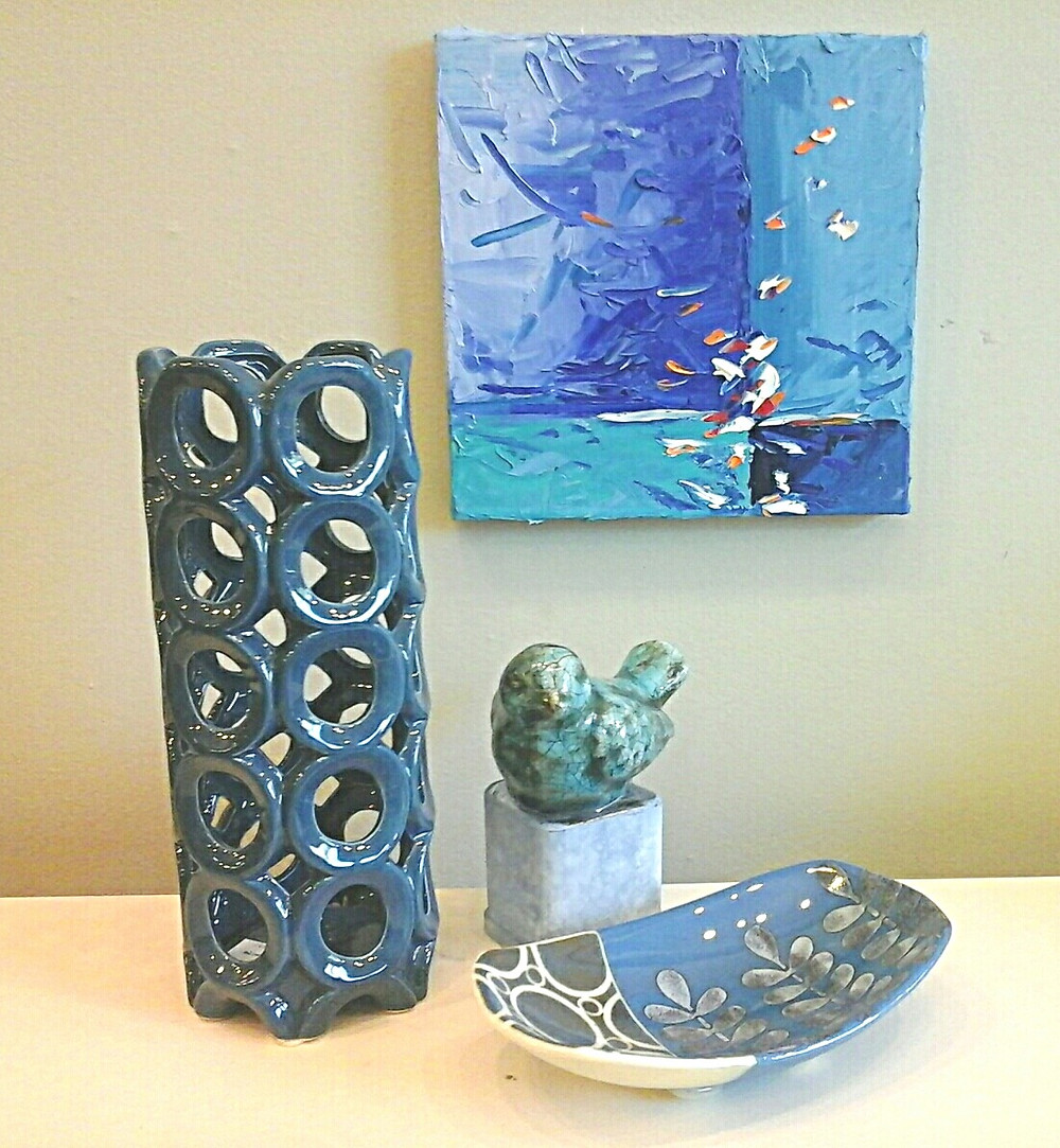 Small abstract original blue tones palette knife oil by Kate Moynihan