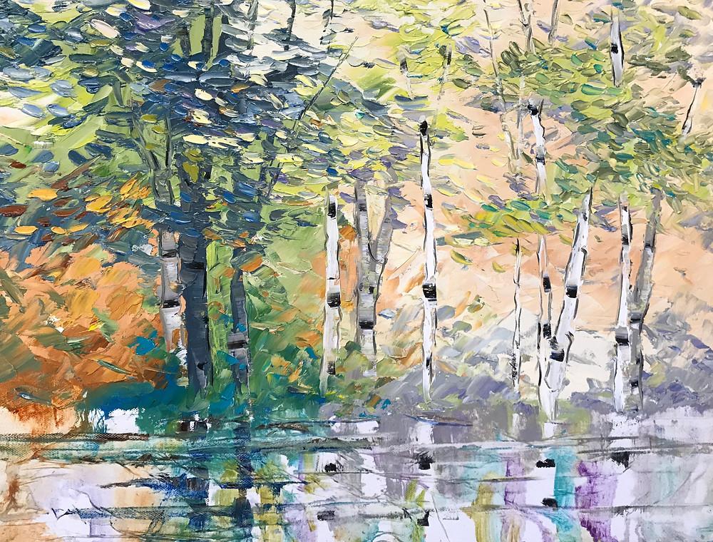 "Original birch tree landscape with water, ""Evening Shadows,"" by Kate Moynihan artist"