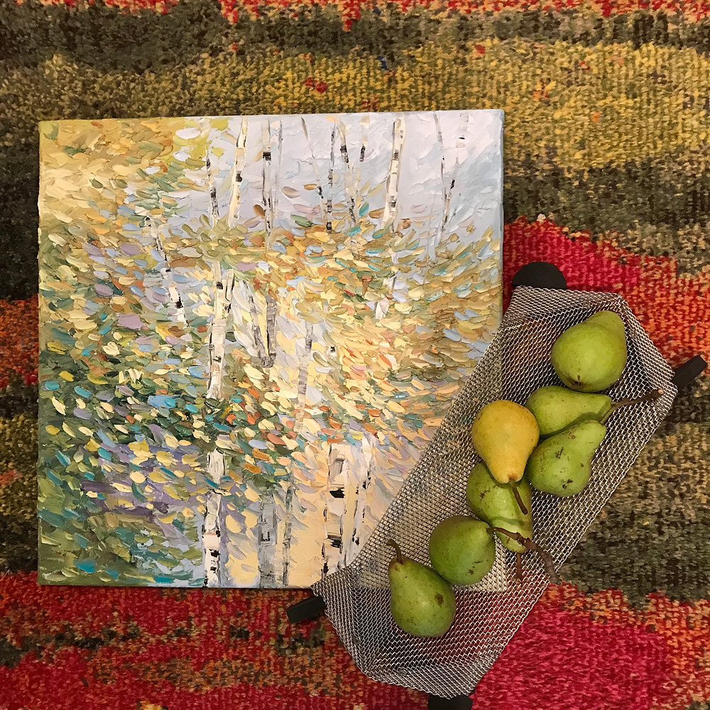 original oil birch tree leaves landscape green and blue by Kate Moynihan