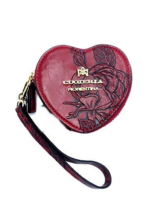 Heart Shaped Coin Holder - Cow Leather