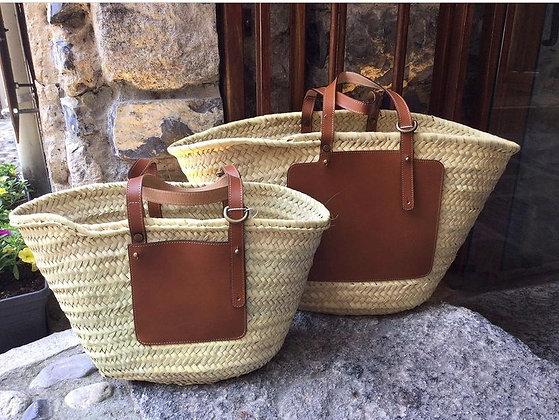 Straw Bag - Size Big - Cow Leather