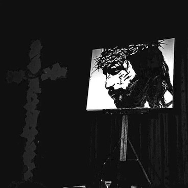 Live performance painting of Jesus for Good Friday at True Life Church