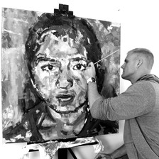 Creating one of three pieces for Faces of Freedom