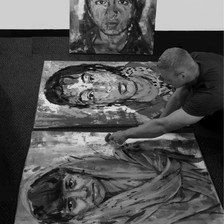 Prepping three Faces of Freedom paintings