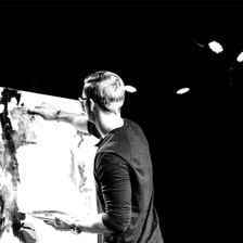 Live performance painting of Jesus at Trinity Naperville, IL