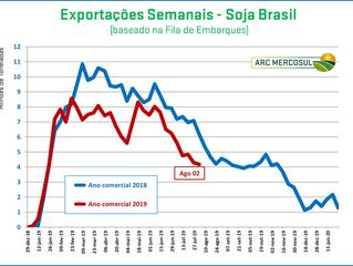 Brasil tem exportações de soja mais lentas em 2019