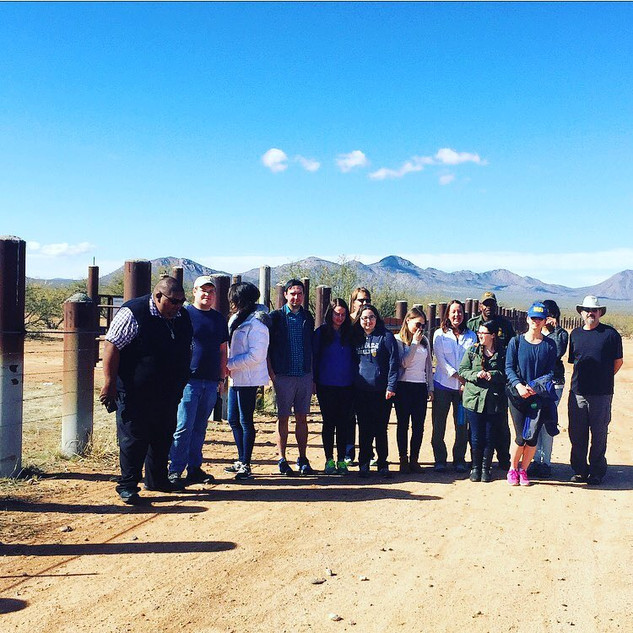 A photo from when the Hanson FilmTV Institute helped facilitate a learning visit by a group of film, journalism and communications students and professors from Ithaca College. We travelled to the US/Mexico border on the Tohono O'Odham Nation and talked with a Nation councilman, a border patrol agent and a human rights activist about border issues. January 2017