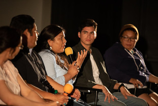 Focus on Navajo Filmmakers at the Flagstaff Red Screen Film Festival: Amásání director and UA Alumna Stacy Howard responds to a question during the post-screening Q&A. July 2019  Photo Steven Toya — with UA Alumna Sarah Del Seronde, Stacy Howard, UA Almunus Christopher Nataanii Cegielski and Deidra Peaches.