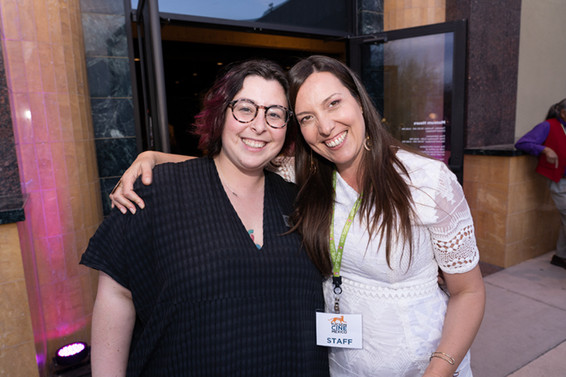 Curator of Community Engagement at the Tucson Museum of Art Marianna Pegno (l) and Associate Professor of Spanish at the University of Arizona Ana Cornide (r) at Tucson Cine Mexico. 2019