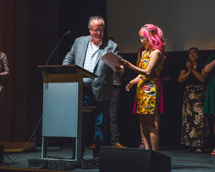 Sara Luu, winner of the Hanson Film Institute Award for Best Production Design at I Dream in Widescreen 2018. She was awarded for her work on the films SNOOZE (dir. Carolyn Mckee) and NORAZIA (dir. Cullen Hamblen). Joe Garrity, American Film Institute's Senior Filmmaker-in-Residence, was on hand to present the award. April 28th, 2018