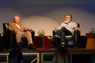 Moctesuma Esparza (l) and Peter Murrieta (r) engage in a frank and funny, insightful and inspirational discussion about Diversity and Opportunity in Hollywood. April 29th, 2016