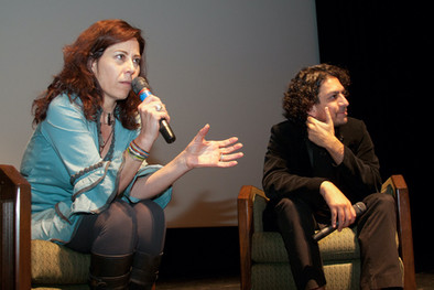Producer Martha Sosa (l) and Carlos Gutierrez (r) during Q&A after Anniversary screening of AMORES PERROS. 2011