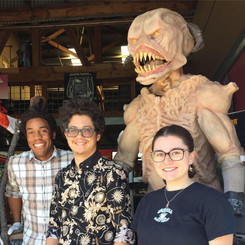 Everyone smile for the camera! Practical special effects creator Quin Davis (left) shows Hanson FilmTV interns Mathew Bogaert and Kathryn Rhea around his creature studio in Tucson. Quin worked on an exact replica of the Martian from THE WAR OF THE WORLDS (1953). It was on display in the Fox Tucson Theatre lobby for the Hanson screening of THE WAR OF THE WORLDS. November 2018