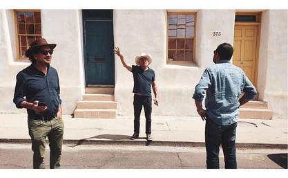 Great photo by cinematographer Carlos F. Rossini of Carlos A. Gutiérrez (Tucson Cine Mexico co-director), Peter Catalanotte (Film Tucson) and Beto Gomez exploring the Barrio Viejo in Tucson. March 2019