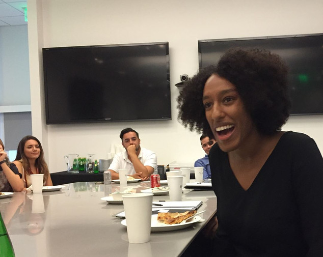 UA Alumni Elen Tekle participating in an internship roundtable at WME hosted by Alumnus WME agent Brad Slater. June 2018